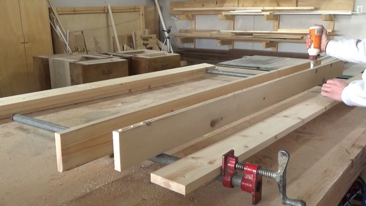 Gluing up solid side panels of DIY kids house bed