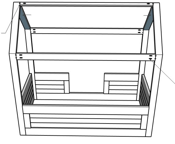 3D diagram of roof stretchers installed into DIY kids house bed