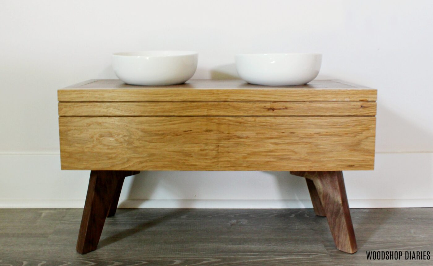 Simple Modern Elevated Dog Bowl Stand with White Bowls, White Oak, and Walnut
