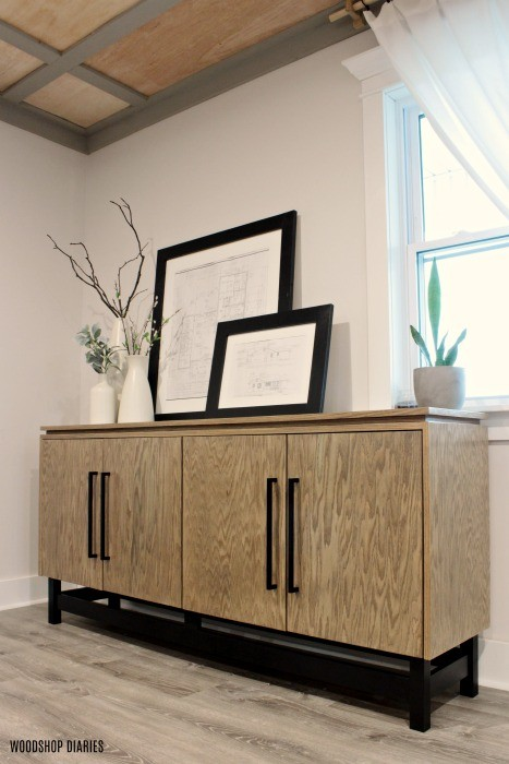Angled shot of DIY modern console cabinet
