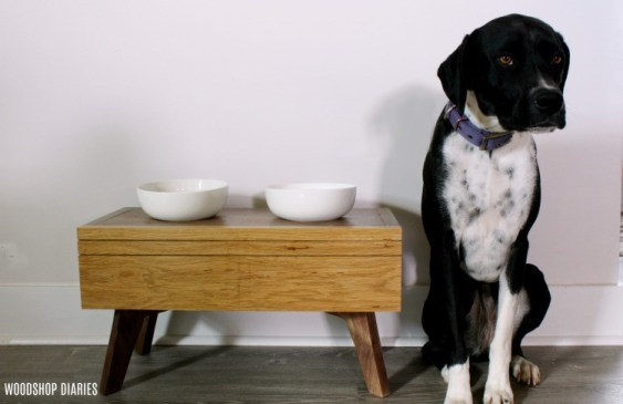 DIY elevated dog food stand for DIY pet christmas gift!