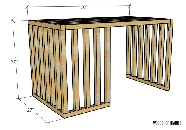 Overall dimensions of slatted part of dog crate furniture piece with sliding door