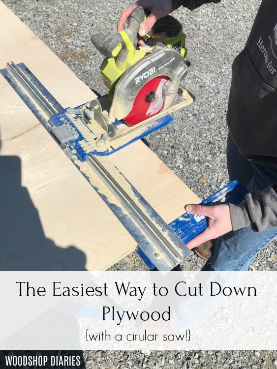 The easiest way to cut down plywood pinterest graphic using Kreg Rip Cut Guide