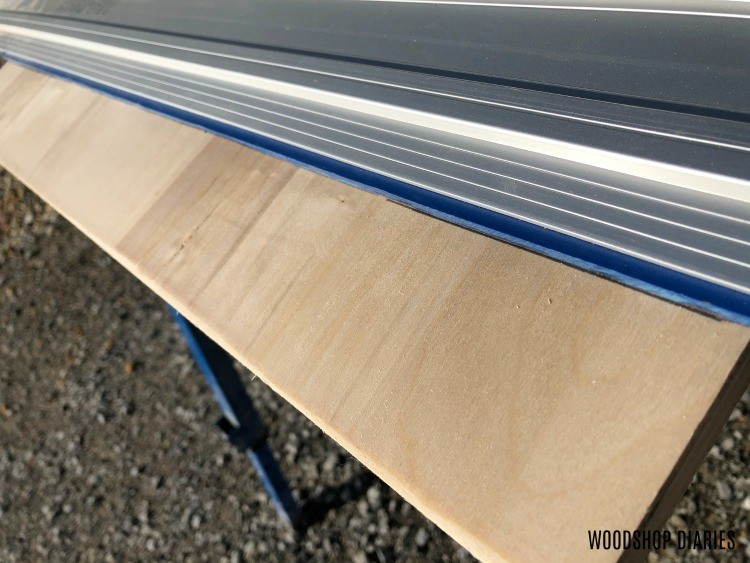 Accu Cut plywood cutting guide lined up with cut marks