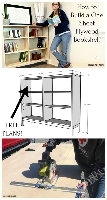 One sheet plywood bookshelf collage pinterest image
