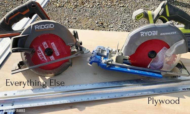 Circular saw used to cut down plywood sheets