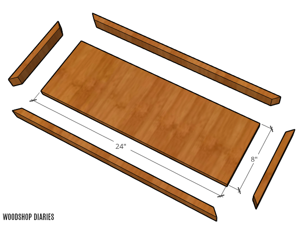 Exploded view of scrap wood floating wall shelf