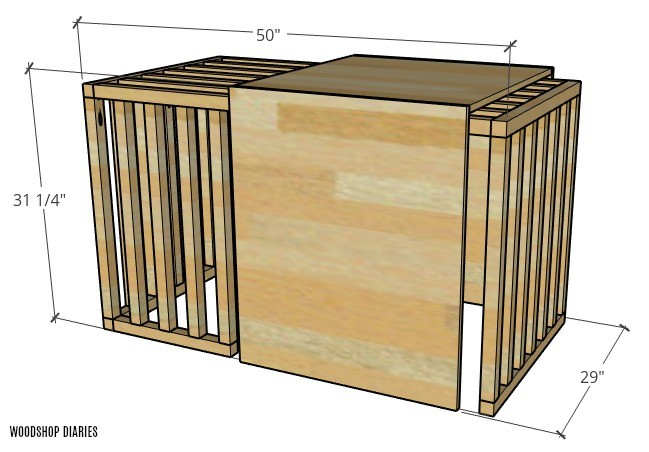 Overall dimensions of dog crate kennel with sliding door closed