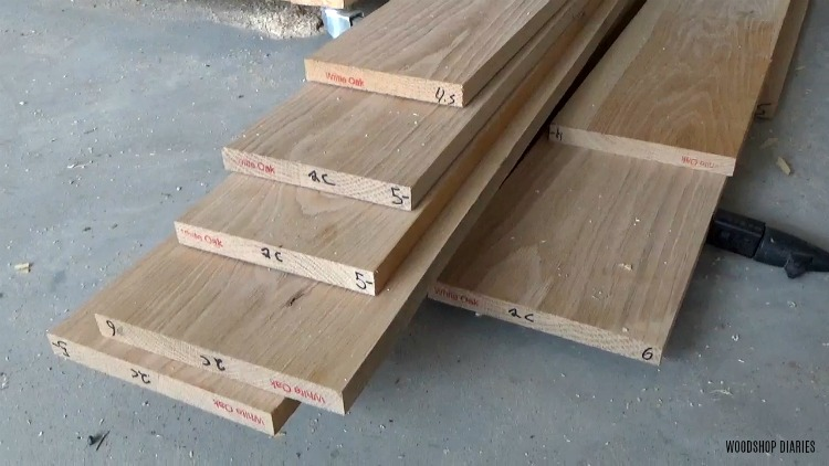 stack of white oak to be used to build dresser cabinet