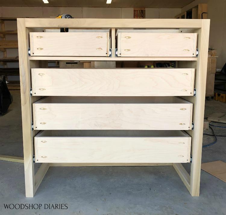 all 5 drawers installed on 5 drawer dresser