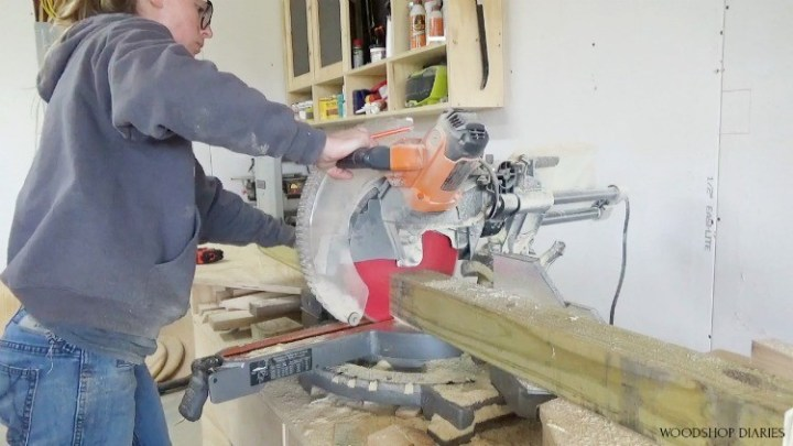 Using miter saw to cut table legs to length