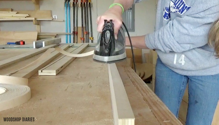 Apply edge banding to plywood edges of mirror frame pieces