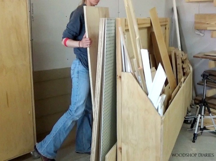 Looking through plywood scraps to use for guitar stand stool combo