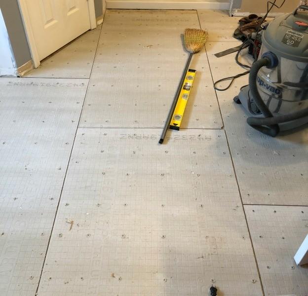 Cement board laid on bathroom floor