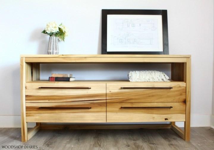 Front view of DIY modern dresser finished