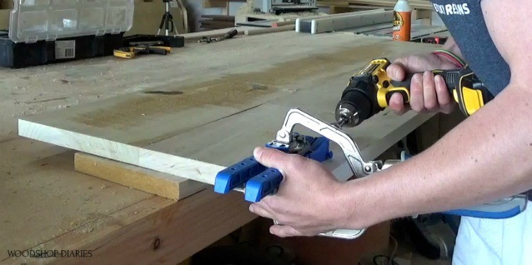 Drilling pocket holes into ends of open dresser shelf