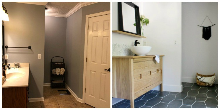 Before and after bathroom renovation vanity and toilet side of room