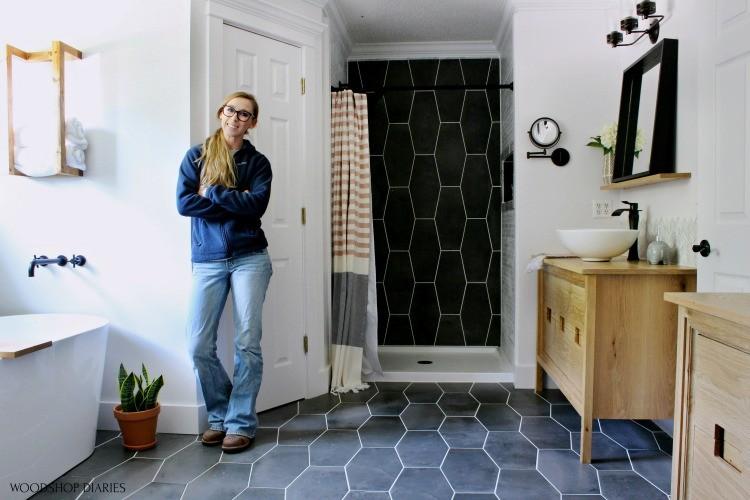 Shara Woodshop Diaries in master bathroom final reveal photo