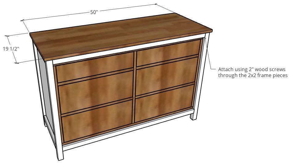 3D diagram of top on dresser frame