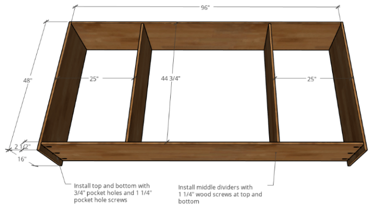 Diagram of cabinet carcass construction with plywood parts