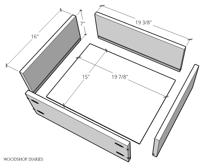 Exploded view of 6 drawer dresser drawer box pieces