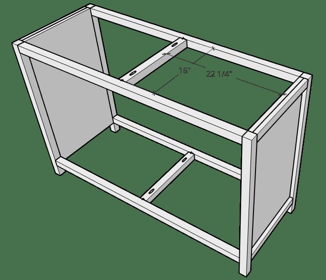 Diagram to install 2x2s in center frame of 6 drawer dresser