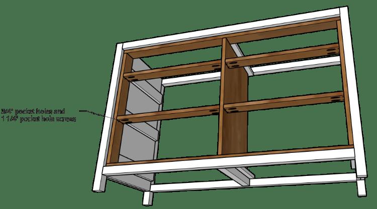 Dresser frame drawer dividers installed with pocket holes and screws