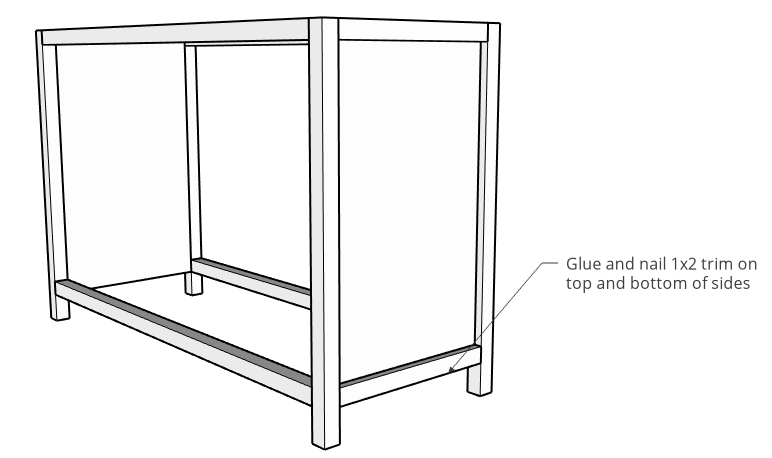 Diagram for trimming out side panels with 1x2s and cove molding