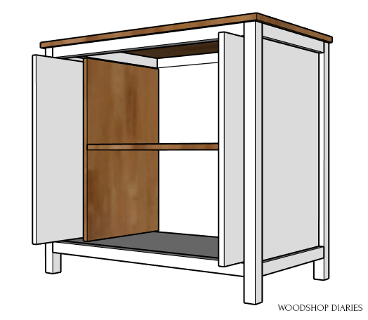 Finished pocket door cabinet with doors slid into place diagram