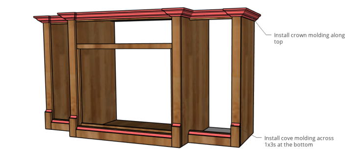 Cove and crown molding added along top and bottom edges of dog crate cabinet