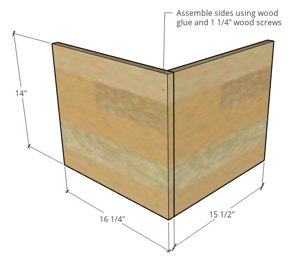 Assemble seat sides diagram for nesting table seat corners