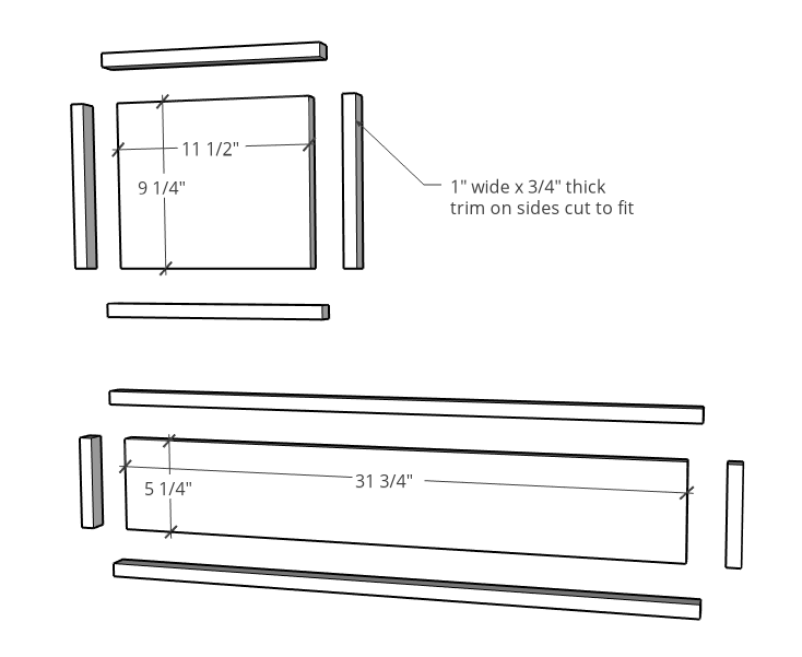 "exploded view of drawer fronts for console cabinet with 1"" trim added around edges"