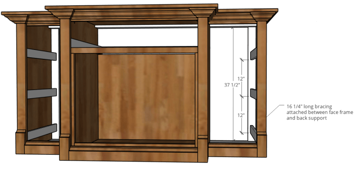 Drawer slide bracing installed into side cabinets of console