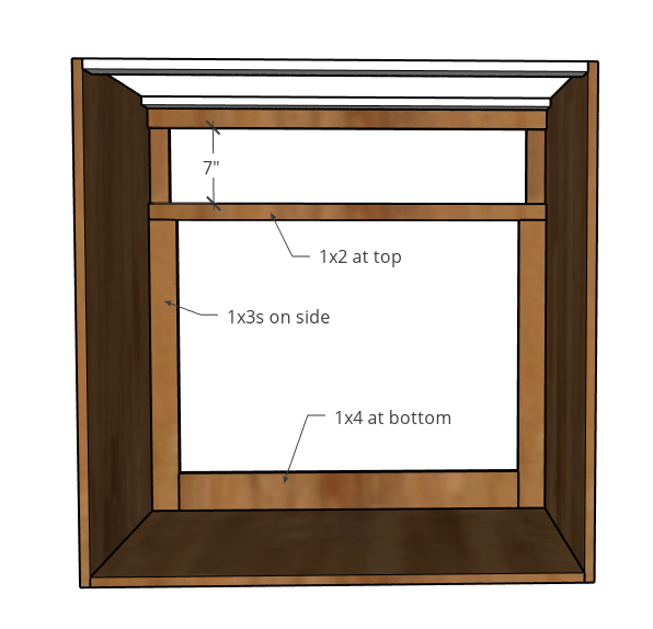 Face frame for dog crate doors added to inside of cabinet