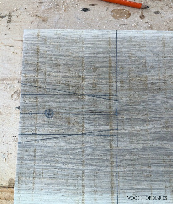 handle marked off on rough sawn oak board