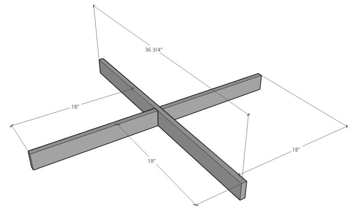 Bottom table base X assembly with dimensions
