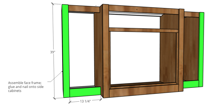 L shaped face frame diagram added to side cabinets