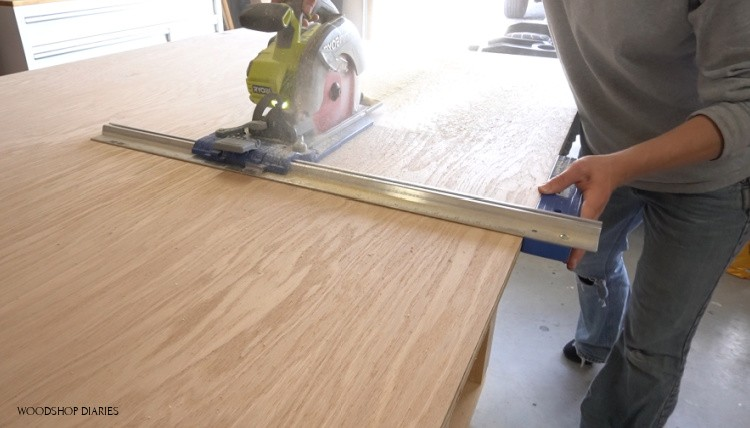 Cutting plywood sheet to build desk panels