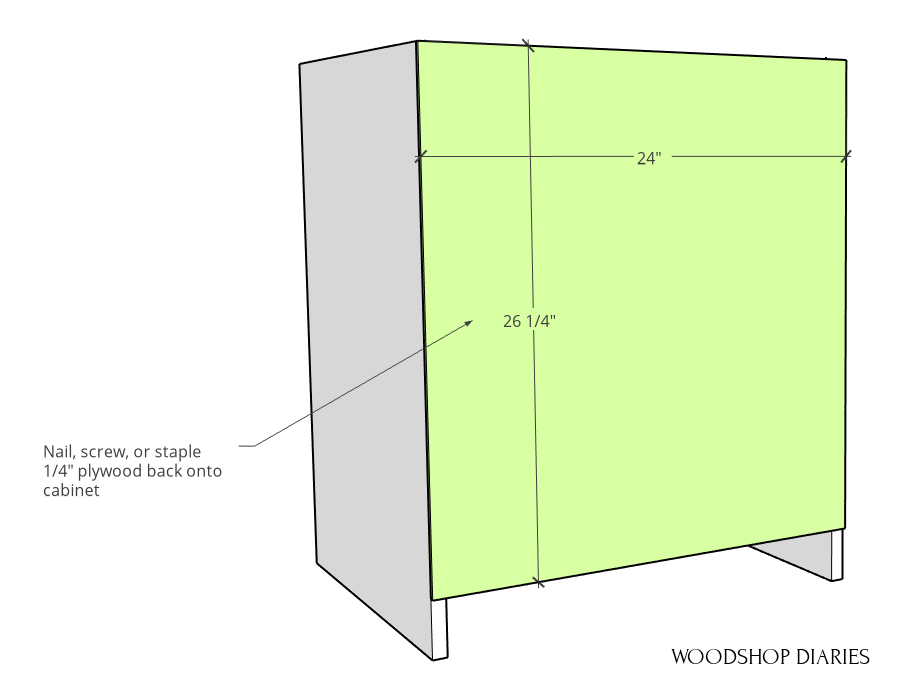 Back panel attached to modular cabinet diagram