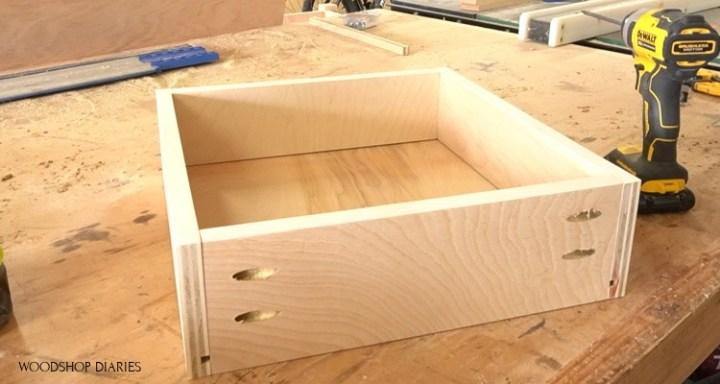 Drawer box for corner desk assembled