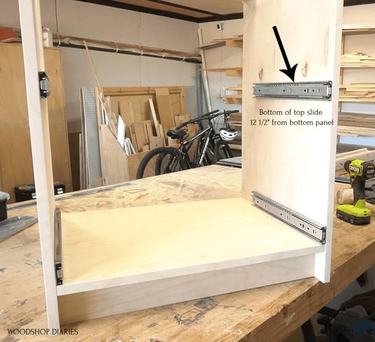 Modular cabinet with drawer slides installed