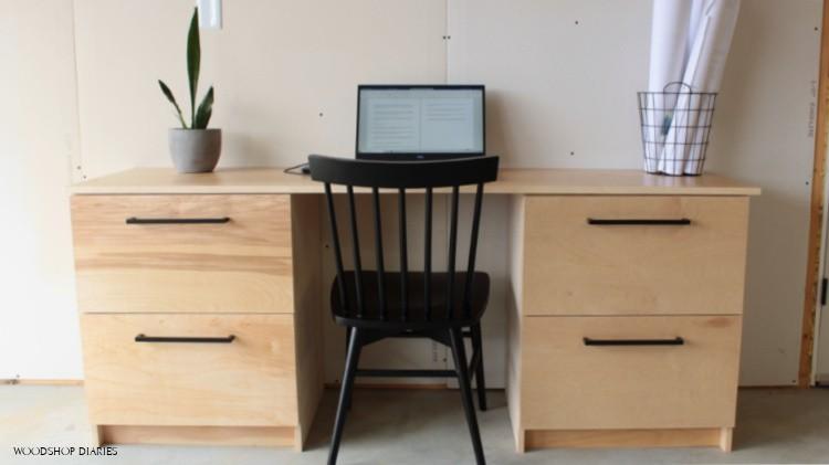 DIY filing cabinet desk put together