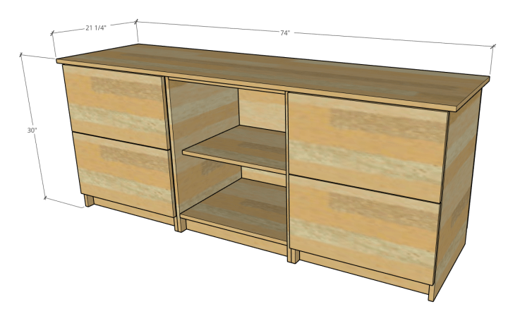 Overall console cabinet dimensions with top and three bottom modular cabinets