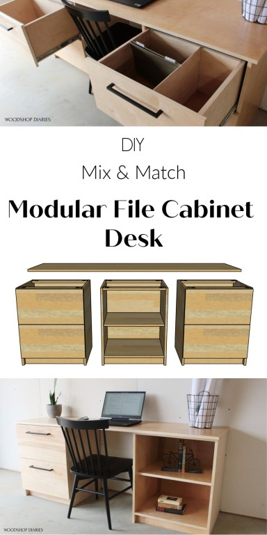 Collage image for pinterest showing DIY file cabinet drawers open, exploded cabinet graphic and desk set up with a shelf and filing cabinet