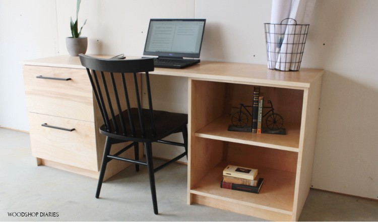 DIY Modular filing cabinet desk with file cabinet on left and shelving unit on right