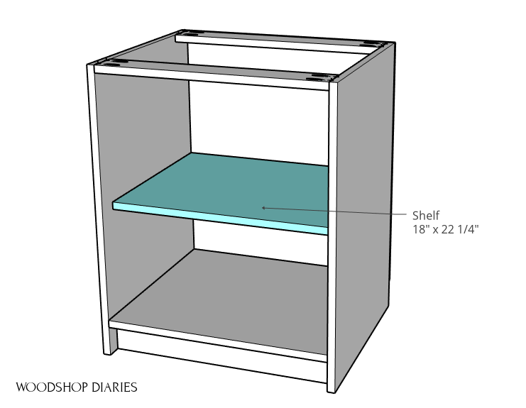 Modular desk cabinet with shelf installed diagram