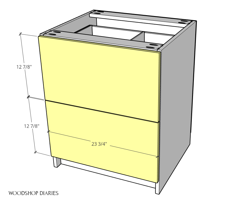 Drawer front sizing diagram for modular filing cabinet drawers