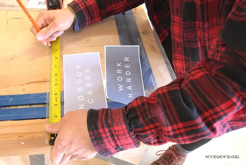 Mark where to cut plexiglass for middle of floating picture frame