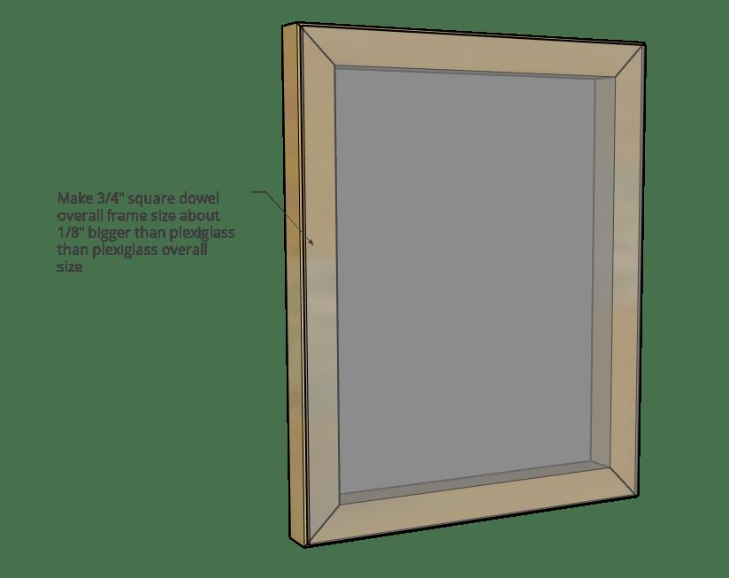 Diagram of inside square dowel frame sizing compared to plexiglass