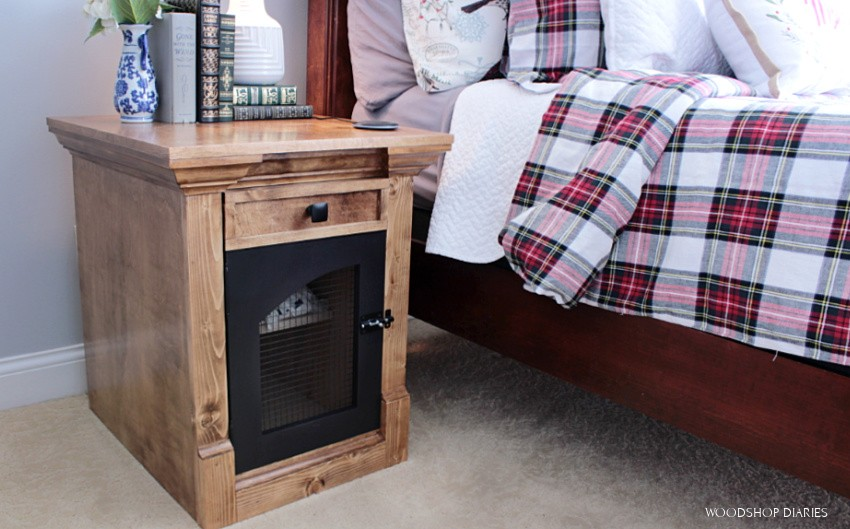 DIY End Table used as nightstand with storage and drawer